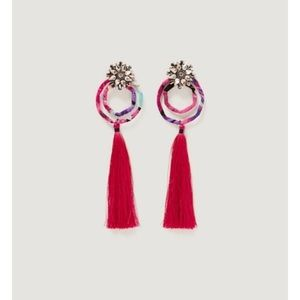 Fringe jeweled earrings